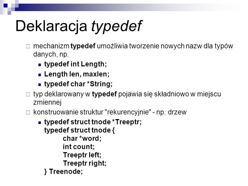 Deklaracja typedef mechanizm typedef umożliwia tworzenie nowych nazw dla typów danych, np. typedef int Length; Length len, maxlen; typedef char *Strin
