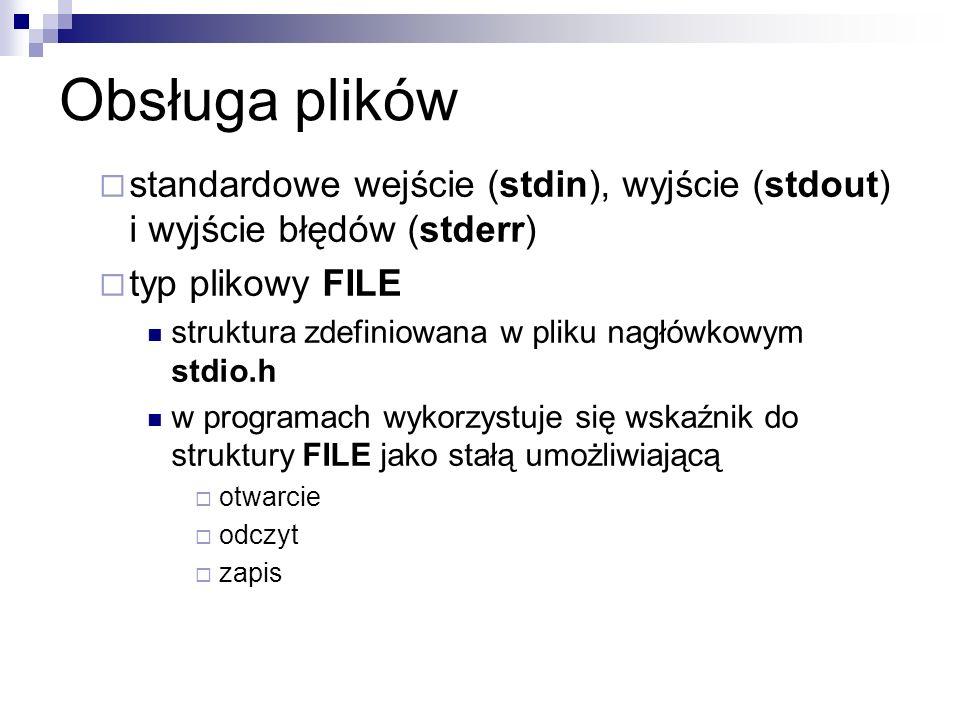 Obsługa plików standardowe wejście (stdin), wyjście (stdout) i wyjście błędów (stderr) typ plikowy FILE struktura zdefiniowana w pliku nagłówkowym std