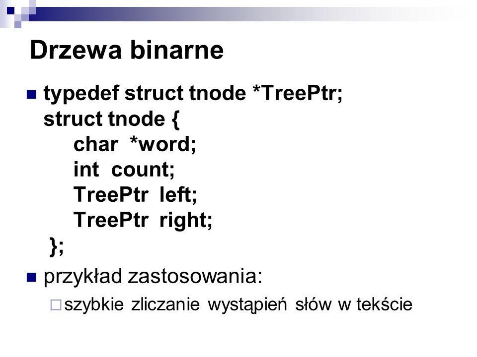 Drzewa binarne typedef struct tnode *TreePtr; struct tnode { char *word; int count; TreePtr left; TreePtr right; }; przykład zastosowania: szybkie zli