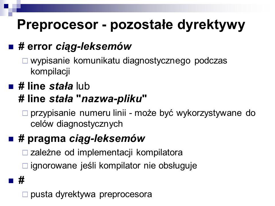 Preprocesor - pozostałe dyrektywy # error ciąg-leksemów wypisanie komunikatu diagnostycznego podczas kompilacji # line stała lub # line stała