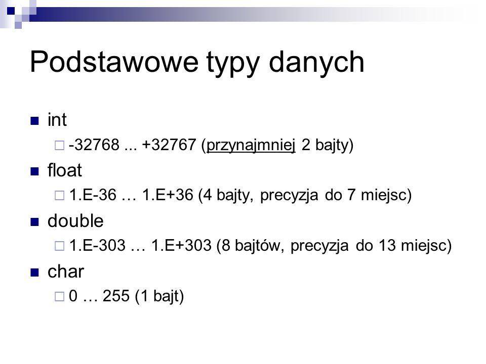 Podstawowe typy danych int -32768... +32767 (przynajmniej 2 bajty) float 1.E-36 … 1.E+36 (4 bajty, precyzja do 7 miejsc) double 1.E-303 … 1.E+303 (8 b