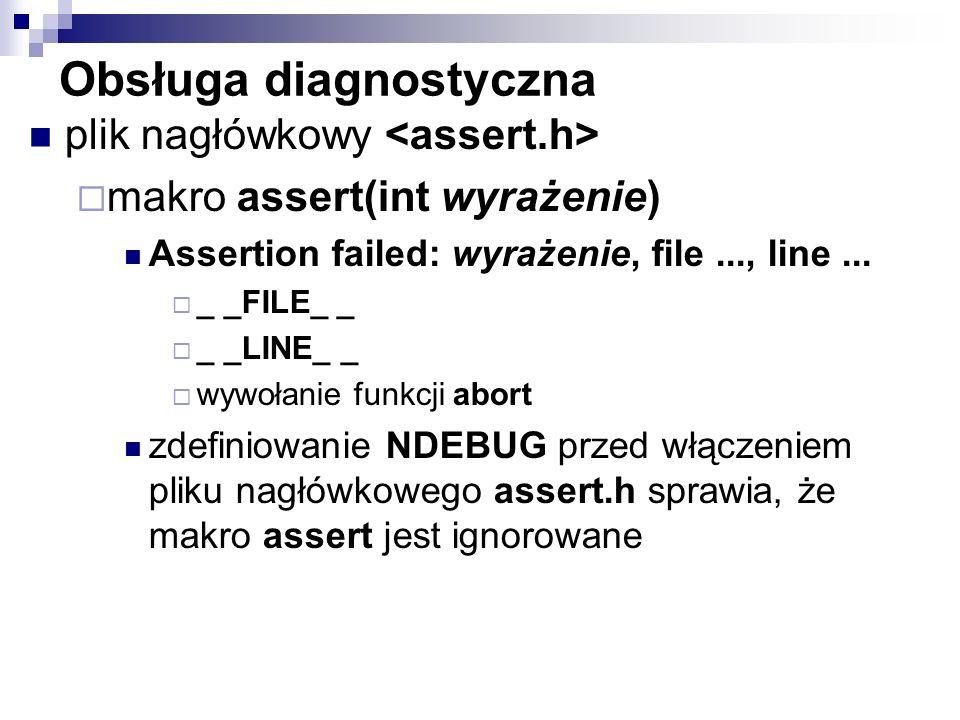 Obsługa diagnostyczna plik nagłówkowy makro assert(int wyrażenie) Assertion failed: wyrażenie, file..., line... _ _FILE_ _ _ _LINE_ _ wywołanie funkcj