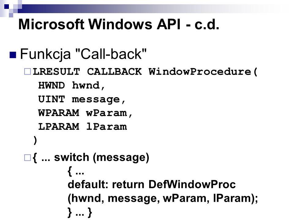 Microsoft Windows API - c.d. Funkcja