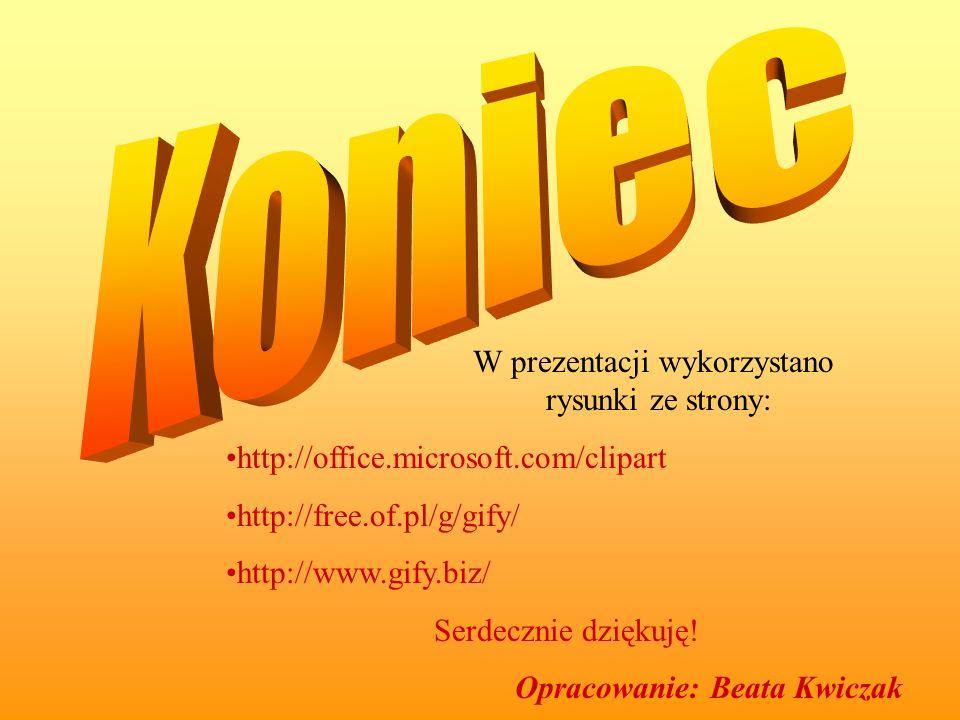 W prezentacji wykorzystano rysunki ze strony: http://office.microsoft.com/clipart http://free.of.pl/g/gify/ http://www.gify.biz/ Serdecznie dziękuję!