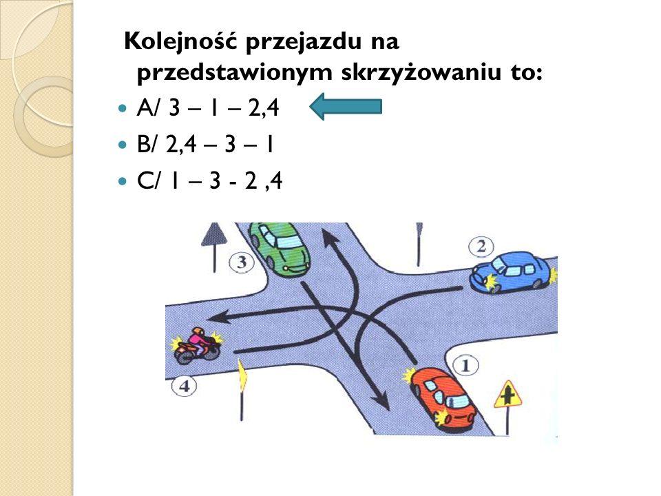 Kolejność przejazdu na przedstawionym skrzyżowaniu to: A/ 3 – 1 – 2,4 B/ 2,4 – 3 – 1 C/ 1 – 3 - 2,4