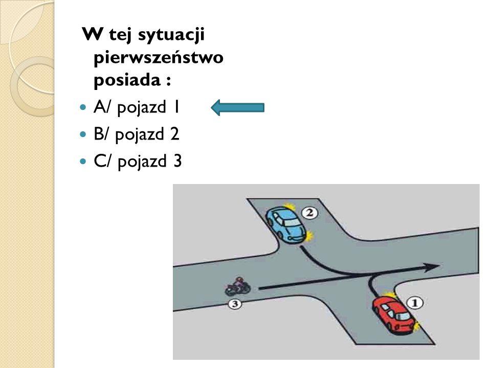W tej sytuacji pierwszeństwo posiada : A/ pojazd 1 B/ pojazd 2 C/ pojazd 3