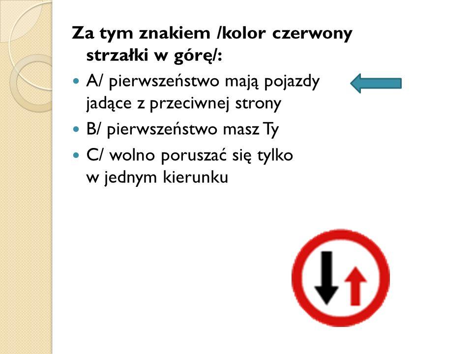 Za tym znakiem /kolor czerwony strzałki w górę/: A/ pierwszeństwo mają pojazdy jadące z przeciwnej strony B/ pierwszeństwo masz Ty C/ wolno poruszać s