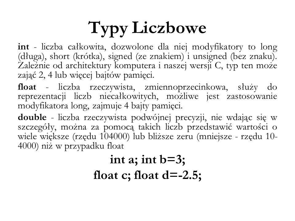 Typy Liczbowe int - liczba całkowita, dozwolone dla niej modyfikatory to long (długa), short (krótka), signed (ze znakiem) i unsigned (bez znaku). Zal