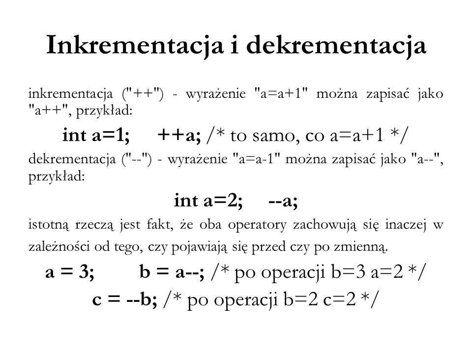Inkrementacja i dekrementacja inkrementacja (