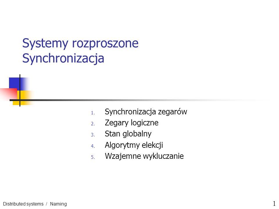 Distributed systems / Naming 1 Systemy rozproszone Synchronizacja 1. Synchronizacja zegarów 2. Zegary logiczne 3. Stan globalny 4. Algorytmy elekcji 5