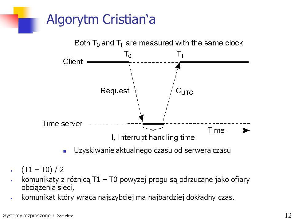 Systemy rozproszone / Synchro 12 Algorytm Cristiana Uzyskiwanie aktualnego czasu od serwera czasu (T1 – T0) / 2 komunikaty z różnicą T1 – T0 powyżej p