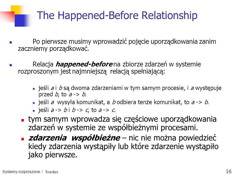 Systemy rozproszone / Synchro 16 The Happened-Before Relationship Po pierwsze musimy wprowadzić pojęcie uporządkowania zanim zaczniemy porządkować. Re