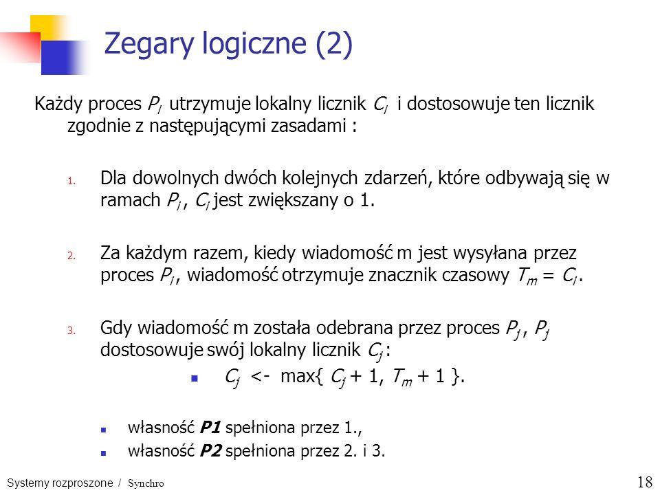 Systemy rozproszone / Synchro 18 Zegary logiczne (2) Każdy proces P i utrzymuje lokalny licznik C i i dostosowuje ten licznik zgodnie z następującymi