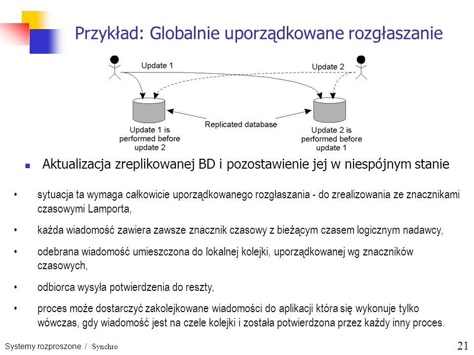 Systemy rozproszone / Synchro 21 Przykład: Globalnie uporządkowane rozgłaszanie Aktualizacja zreplikowanej BD i pozostawienie jej w niespójnym stanie