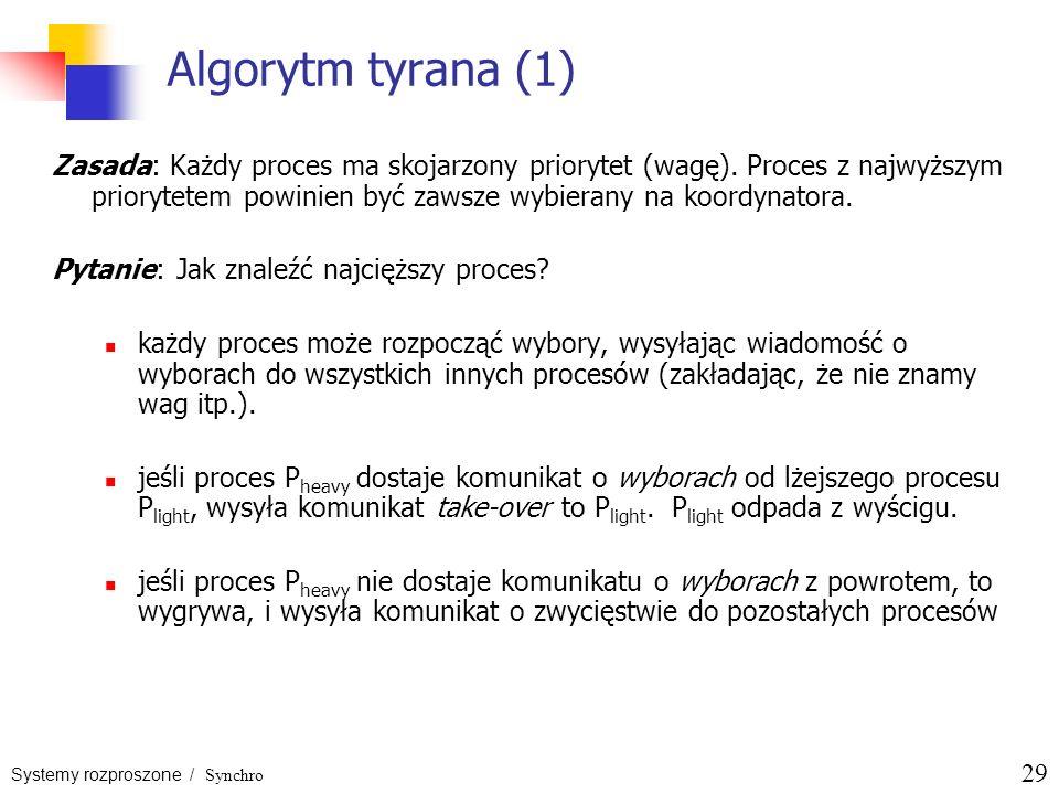 Systemy rozproszone / Synchro 29 Algorytm tyrana (1) Zasada: Każdy proces ma skojarzony priorytet (wagę). Proces z najwyższym priorytetem powinien być