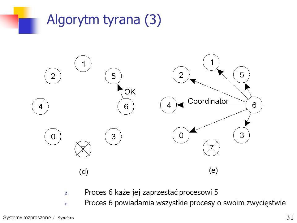 Systemy rozproszone / Synchro 31 Algorytm tyrana (3) d. Proces 6 każe jej zaprzestać procesowi 5 e. Proces 6 powiadamia wszystkie procesy o swoim zwyc