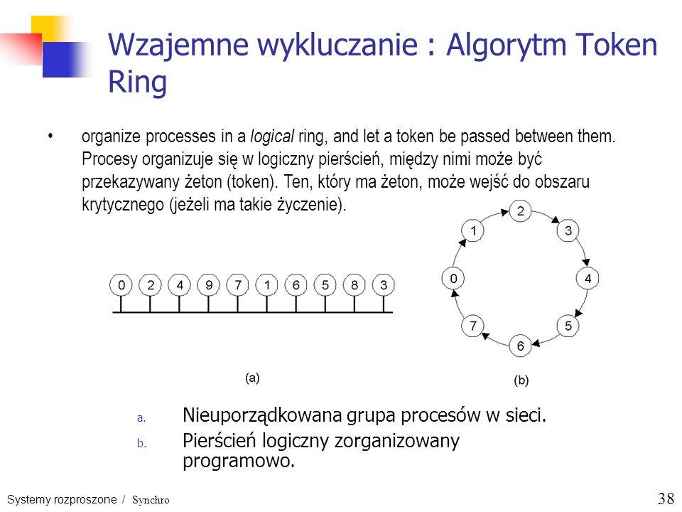 Systemy rozproszone / Synchro 38 Wzajemne wykluczanie : Algorytm Token Ring a. Nieuporządkowana grupa procesów w sieci. b. Pierścień logiczny zorganiz