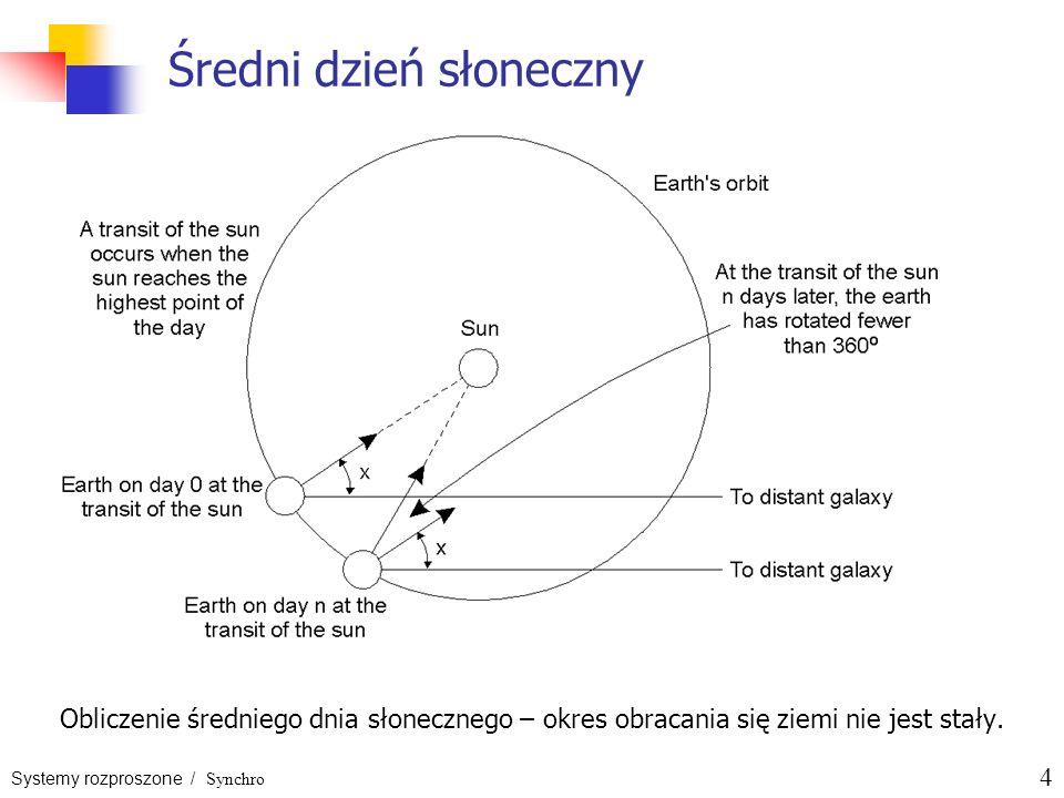 Systemy rozproszone / Synchro 4 Średni dzień słoneczny Obliczenie średniego dnia słonecznego – okres obracania się ziemi nie jest stały.