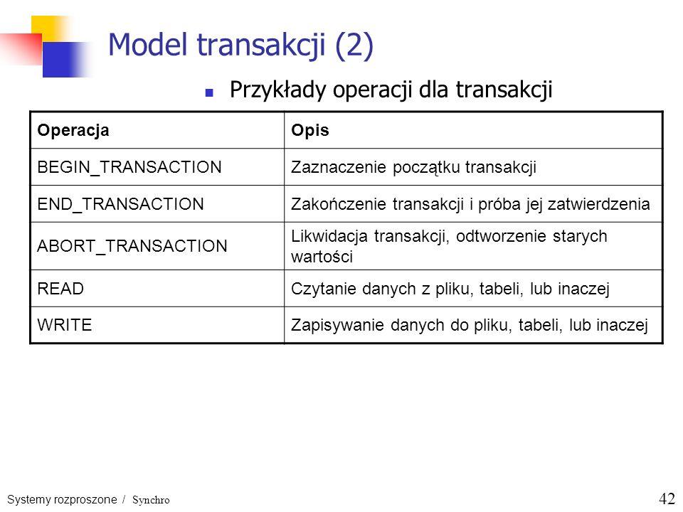 Systemy rozproszone / Synchro 42 Model transakcji (2) Przykłady operacji dla transakcji OperacjaOpis BEGIN_TRANSACTIONZaznaczenie początku transakcji