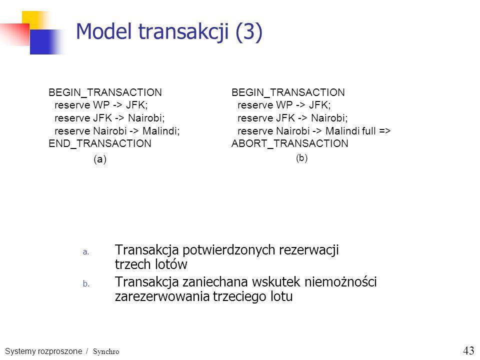 Systemy rozproszone / Synchro 43 Model transakcji (3) a. Transakcja potwierdzonych rezerwacji trzech lotów b. Transakcja zaniechana wskutek niemożnośc