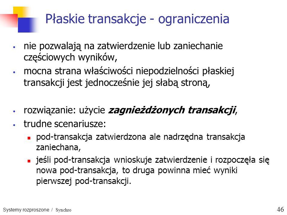 Systemy rozproszone / Synchro 46 Płaskie transakcje - ograniczenia nie pozwalają na zatwierdzenie lub zaniechanie częściowych wyników, mocna strana wł