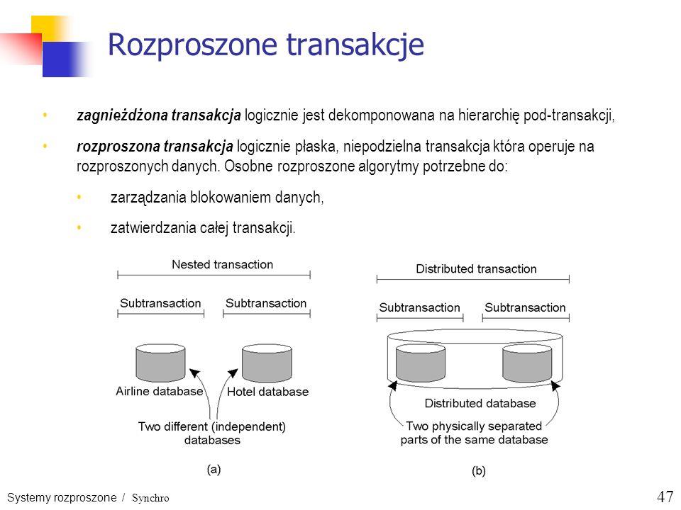 Systemy rozproszone / Synchro 47 Rozproszone transakcje zagnieżdżona transakcja logicznie jest dekomponowana na hierarchię pod-transakcji, rozproszona