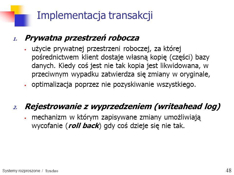 Systemy rozproszone / Synchro 48 Implementacja transakcji 1. Prywatna przestrzeń robocza użycie prywatnej przestrzeni roboczej, za której pośrednictwe