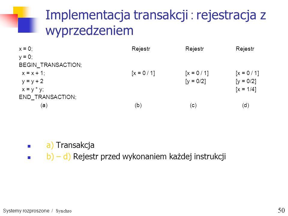 Systemy rozproszone / Synchro 50 Implementacja transakcji : rejestracja z wyprzedzeniem a) Transakcja b) – d) Rejestr przed wykonaniem każdej instrukc