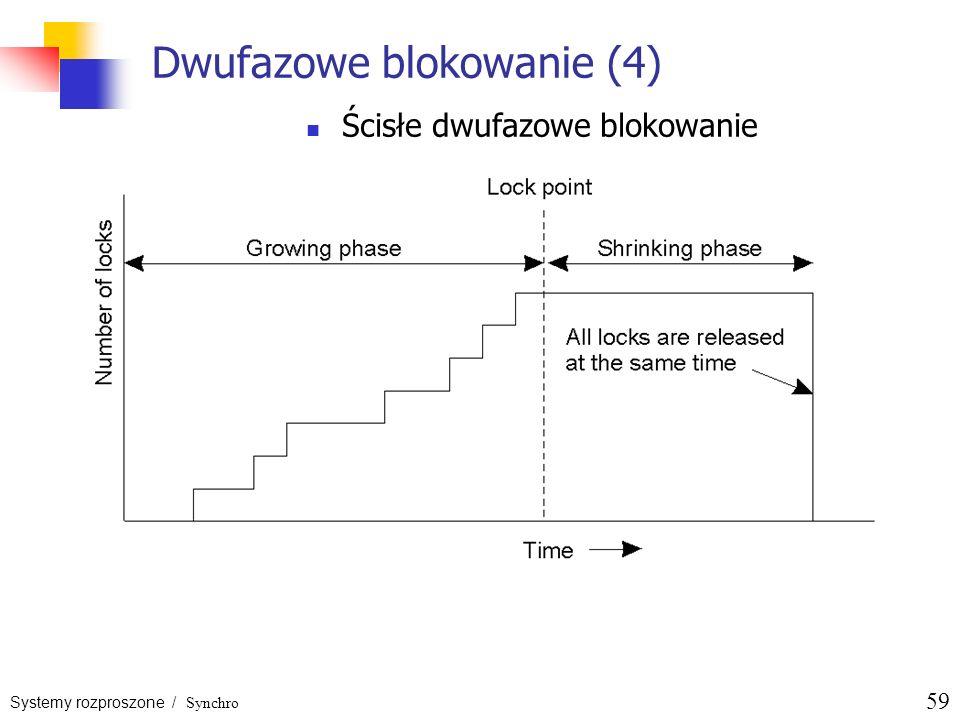 Systemy rozproszone / Synchro 59 Dwufazowe blokowanie (4) Ścisłe dwufazowe blokowanie