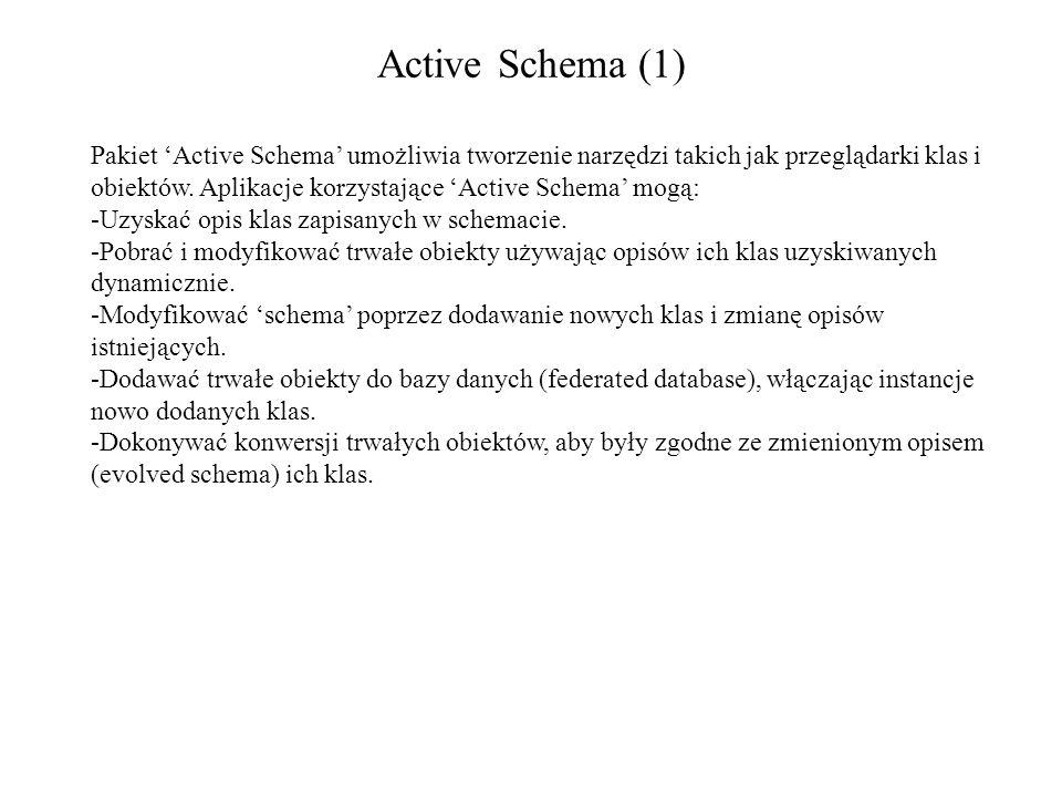Active Schema (1) Pakiet Active Schema umożliwia tworzenie narzędzi takich jak przeglądarki klas i obiektów. Aplikacje korzystające Active Schema mogą