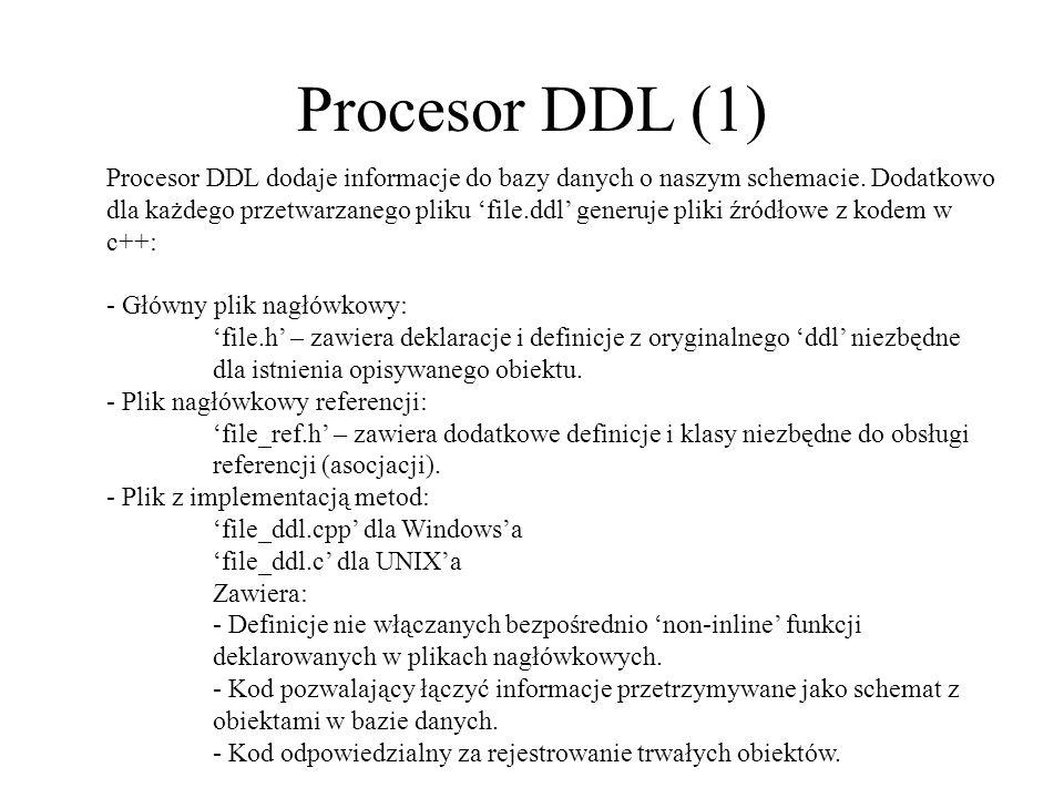 Procesor DDL (1) Procesor DDL dodaje informacje do bazy danych o naszym schemacie. Dodatkowo dla każdego przetwarzanego pliku file.ddl generuje pliki
