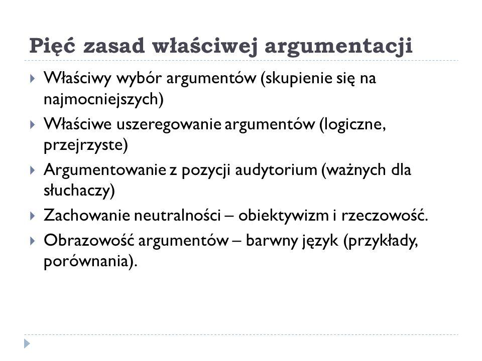 Pięć zasad właściwej argumentacji Właściwy wybór argumentów (skupienie się na najmocniejszych) Właściwe uszeregowanie argumentów (logiczne, przejrzyst