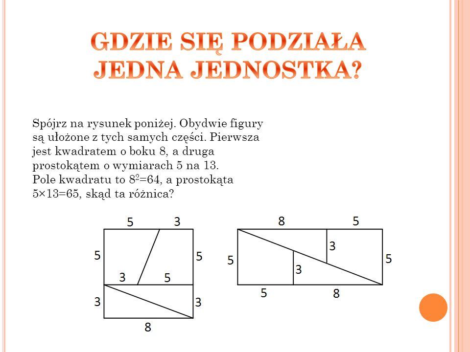 Spójrz na rysunek poniżej. Obydwie figury są ułożone z tych samych części. Pierwsza jest kwadratem o boku 8, a druga prostokątem o wymiarach 5 na 13.