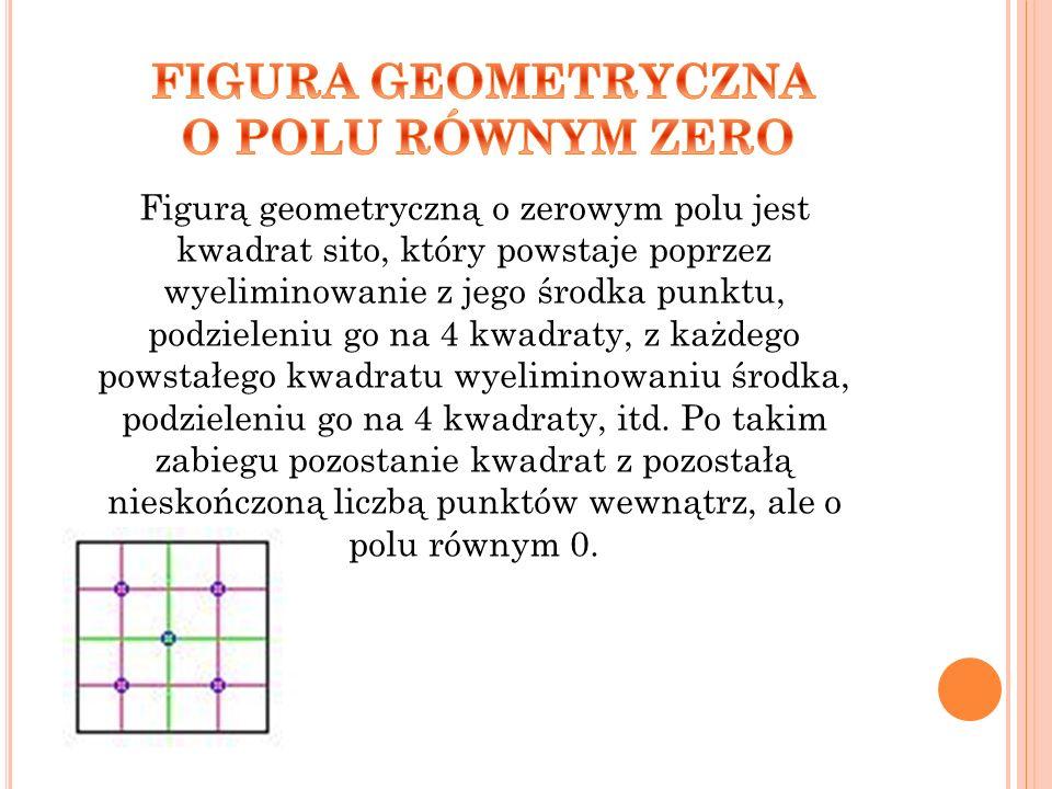 Figurą geometryczną o zerowym polu jest kwadrat sito, który powstaje poprzez wyeliminowanie z jego środka punktu, podzieleniu go na 4 kwadraty, z każd