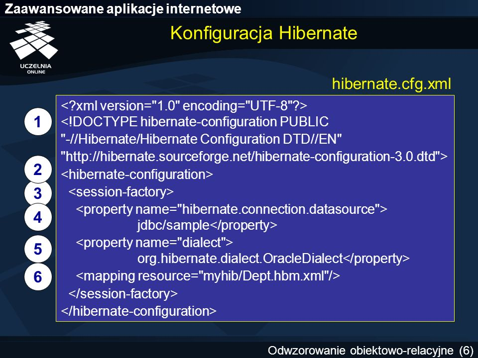 Zaawansowane aplikacje internetowe Odwzorowanie obiektowo-relacyjne (17) Przykład asocjacji w Hibernate (1/2) DeptEmp Emp.java Emp.hbm.xml public class Emp { private Long id; private String ename; private Dept dept;...