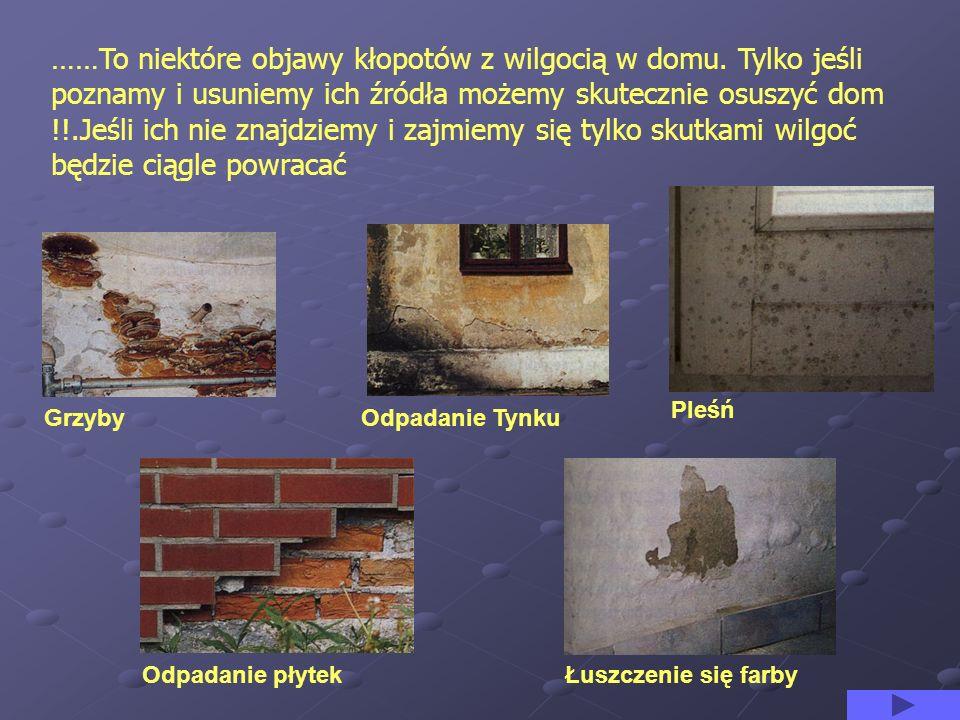 ……To niektóre objawy kłopotów z wilgocią w domu. Tylko jeśli poznamy i usuniemy ich źródła możemy skutecznie osuszyć dom !!.Jeśli ich nie znajdziemy i