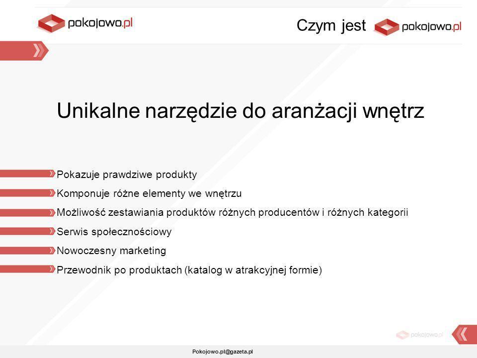 Pokojowo.pl@gazeta.pl Unikalne narzędzie do aranżacji wnętrz Pokazuje prawdziwe produkty Komponuje różne elementy we wnętrzu Możliwość zestawiania pro