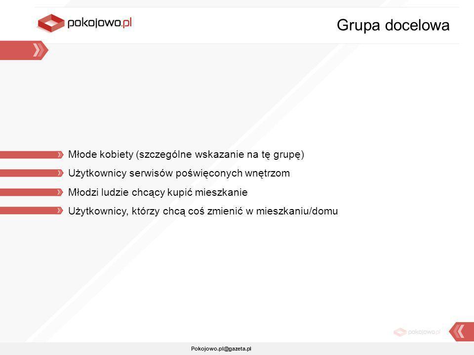 Pokojowo.pl@gazeta.pl Młode kobiety (szczególne wskazanie na tę grupę) Użytkownicy serwisów poświęconych wnętrzom Młodzi ludzie chcący kupić mieszkani