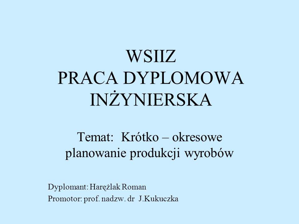 WSIIZ PRACA DYPLOMOWA INŻYNIERSKA Temat: Krótko – okresowe planowanie produkcji wyrobów Dyplomant: Harężlak Roman Promotor: prof. nadzw. dr J.Kukuczka