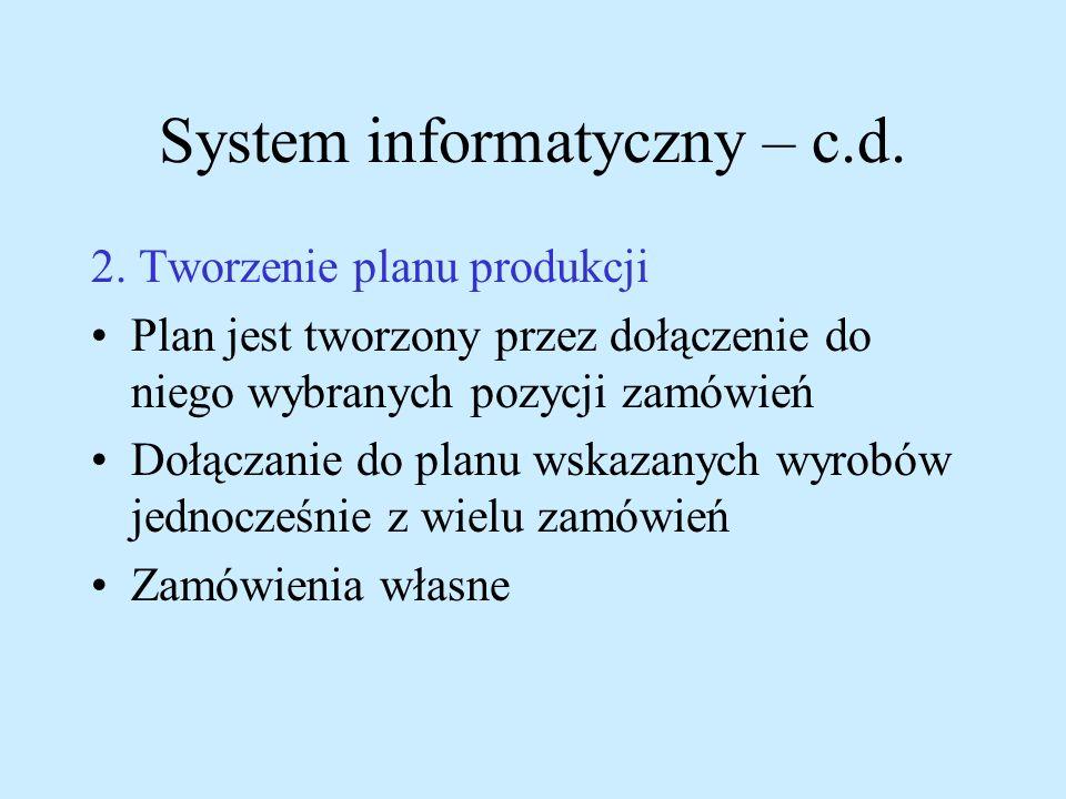 System informatyczny – c.d. 2. Tworzenie planu produkcji Plan jest tworzony przez dołączenie do niego wybranych pozycji zamówień Dołączanie do planu w