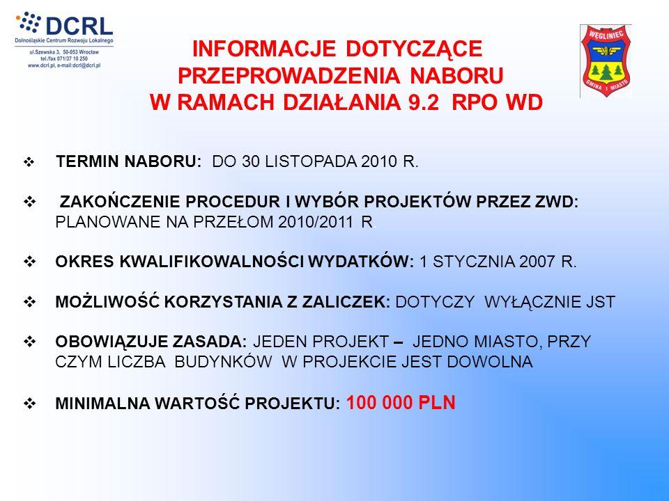 INFORMACJE DOTYCZĄCE PRZEPROWADZENIA NABORU W RAMACH DZIAŁANIA 9.2 RPO WD TERMIN NABORU: DO 30 LISTOPADA 2010 R.