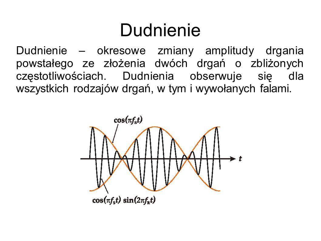 Dudnienie Dudnienie – okresowe zmiany amplitudy drgania powstałego ze złożenia dwóch drgań o zbliżonych częstotliwościach. Dudnienia obserwuje się dla