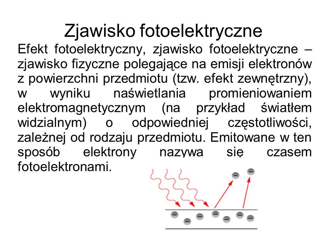 Zjawisko fotoelektryczne Efekt fotoelektryczny, zjawisko fotoelektryczne – zjawisko fizyczne polegające na emisji elektronów z powierzchni przedmiotu