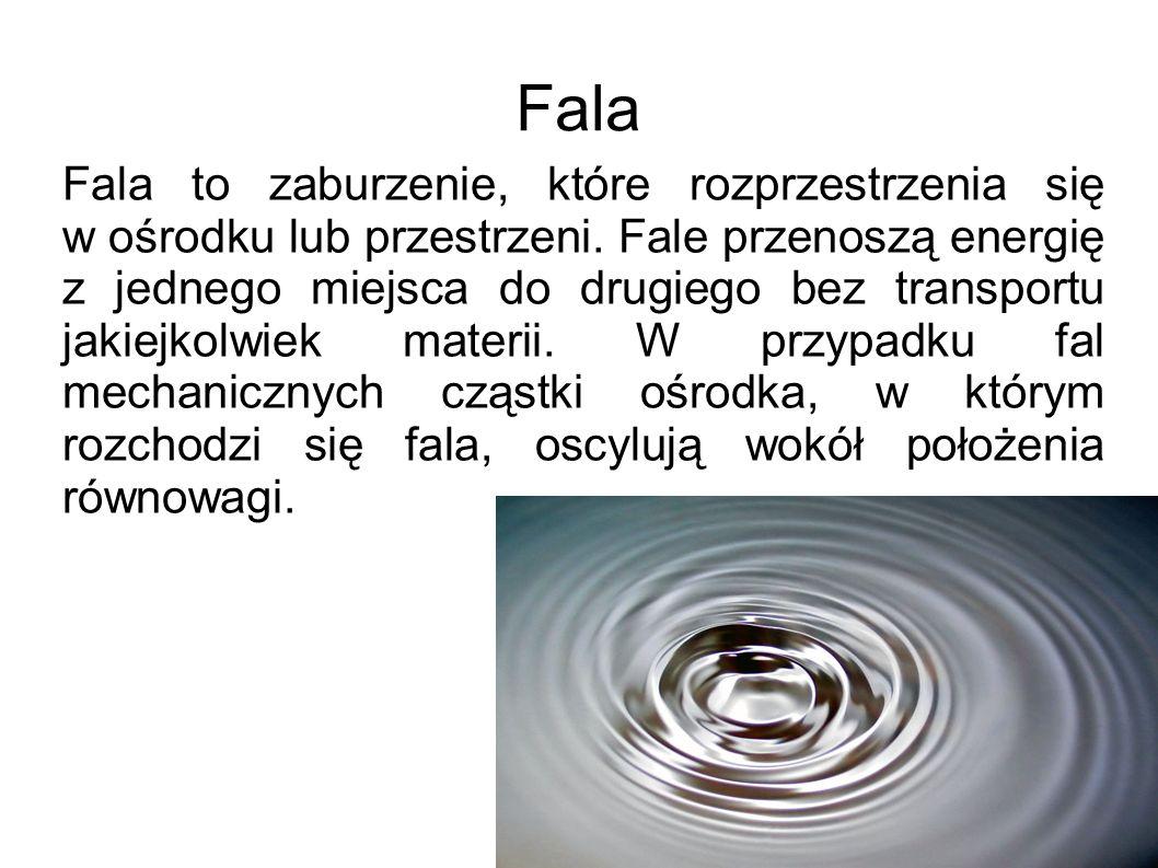 Fala Fala to zaburzenie, które rozprzestrzenia się w ośrodku lub przestrzeni. Fale przenoszą energię z jednego miejsca do drugiego bez transportu jaki