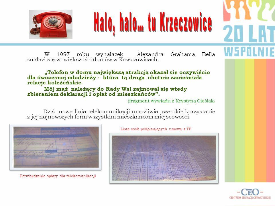 W 1997 roku wynalazek Alexandra Grahama Bella znalazł się w większości domów w Krzeczowicach. Telefon w domu największą atrakcją okazał się oczywiście