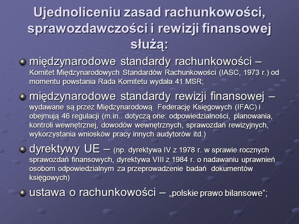 Ujednoliceniu zasad rachunkowości, sprawozdawczości i rewizji finansowej służą: międzynarodowe standardy rachunkowości – Komitet Międzynarodowych Standardów Rachunkowości (IASC, 1973 r.) od momentu powstania Rada Komitetu wydała 41 MSR; międzynarodowe standardy rewizji finansowej – wydawane są przez Międzynarodową Federację Księgowych (IFAC) i obejmują 46 regulacji (m.in..