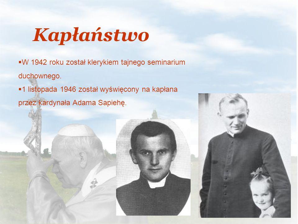 Kapłaństwo W 1942 roku został klerykiem tajnego seminarium duchownego. 1 listopada 1946 został wyświęcony na kapłana przez kardynała Adama Sapiehę.