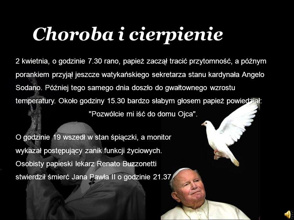 2 kwietnia, o godzinie 7.30 rano, papież zaczął tracić przytomność, a późnym porankiem przyjął jeszcze watykańskiego sekretarza stanu kardynała Angelo