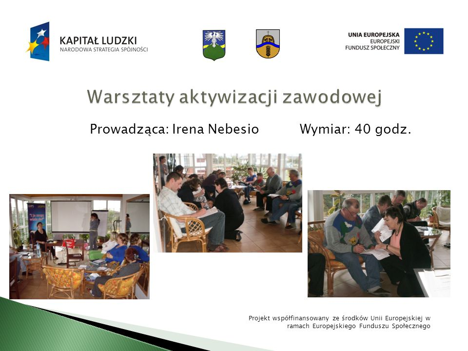 Prowadząca: Irena Nebesio Wymiar: 40 godz. Projekt współfinansowany ze środków Unii Europejskiej w ramach Europejskiego Funduszu Społecznego