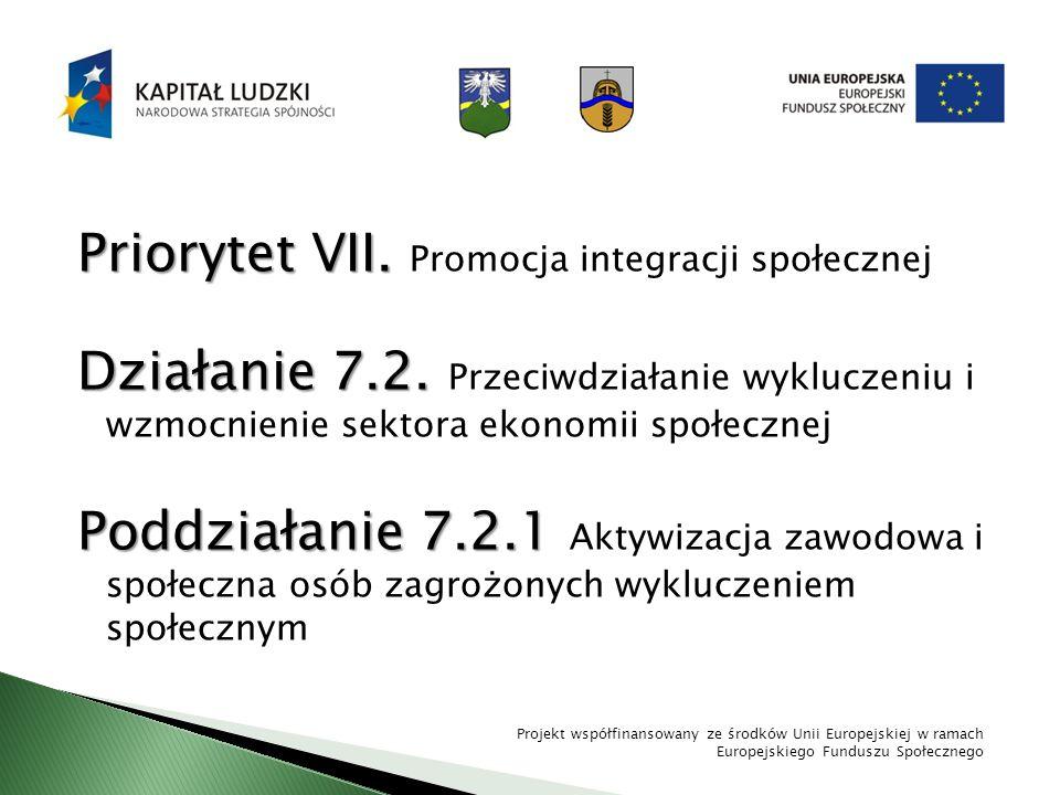 Priorytet VII. Priorytet VII. Promocja integracji społecznej Działanie 7.2. Działanie 7.2. Przeciwdziałanie wykluczeniu i wzmocnienie sektora ekonomii